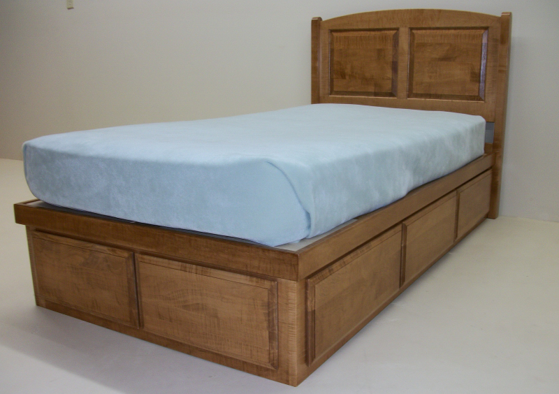 Solid Hard Maple Bed Square Raised Panel Headboard 6 Drawers