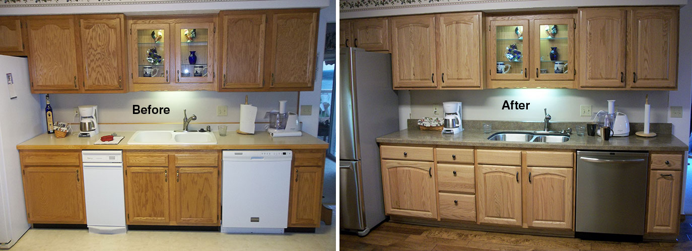 Kitchens before after eagle cabinets for Before after kitchen cabinets