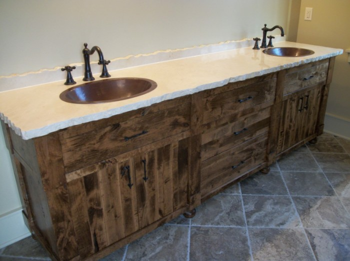 Solid Hardwood Rough Sawn Master Bath Eagle Cabinets