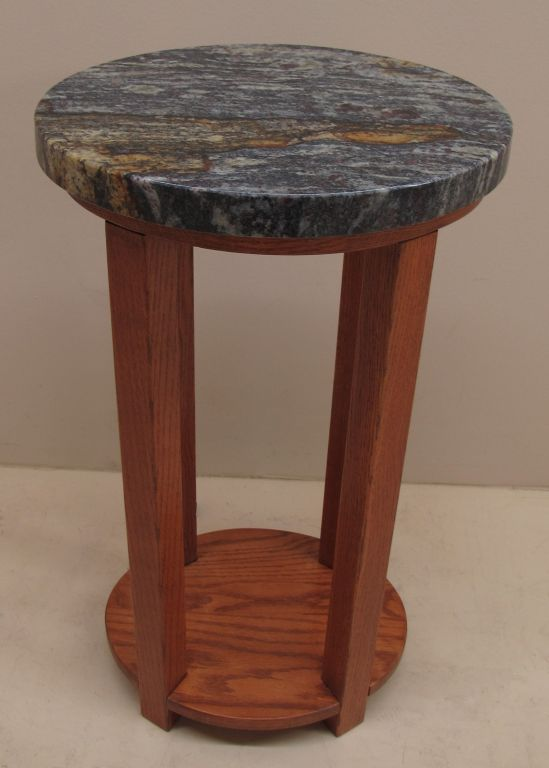 Custom Red Oak Side Table Round Granite Top