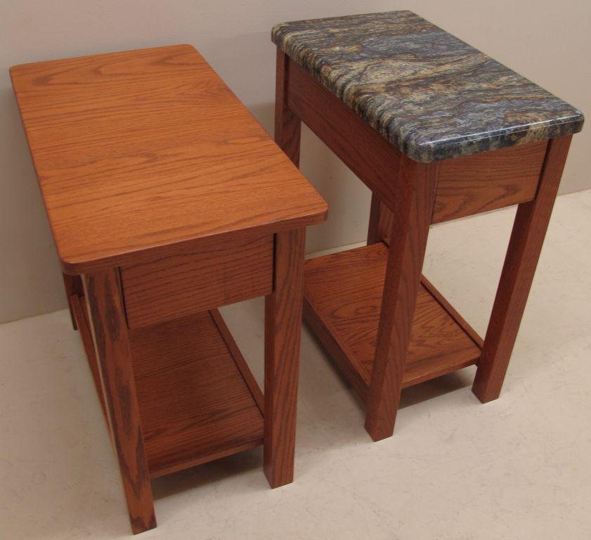 Solid Custom Red Oak Side Table Granite Top