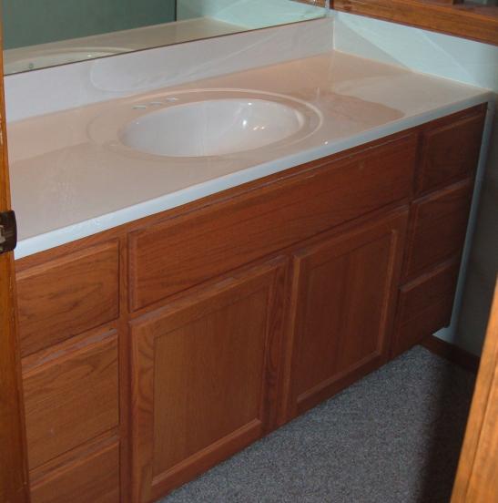 Williamson Custom Oak Flat Panel Vanity Eagle Cabinets