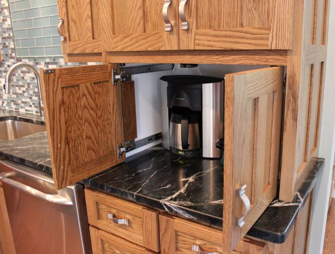 Built In Coffee Maker Pocket Doors Out Eagle Cabinets